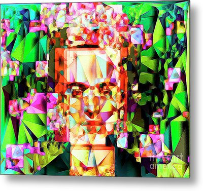 Frida Kahlo In Abstract Cubism 20170326 V3 Horizontal Metal Print by Wingsdomain Art and Photography