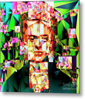 Frida Kahlo In Abstract Cubism 20170326 V3 Square Metal Print by Wingsdomain Art and Photography
