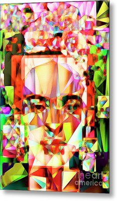 Frida Kahlo In Abstract Cubism 20170326 V4 Metal Print by Wingsdomain Art and Photography