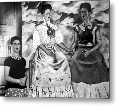 Frida Kahlo Shown With Her Painting Me Metal Print by Everett