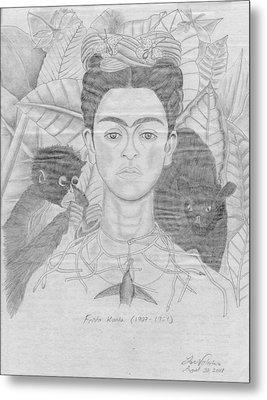 Frida Khalo Metal Print by M Valeriano