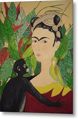 Frida With Monkey And Bird Metal Print by Stephanie Moore