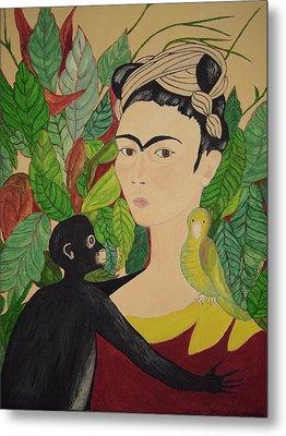 Frida With Monkey And Bird Metal Print