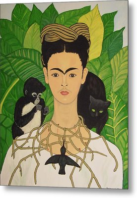 Frida With Monkey And Cat Metal Print