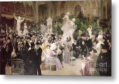 Friday At The Salon Metal Print by Jules Alexandre Grun