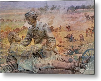 Friend To Friend Monument Gettysburg Battlefield Metal Print by Randy Steele