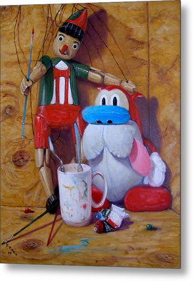 Friends 2  -  Pinocchio And Stimpy   Metal Print by Donelli  DiMaria