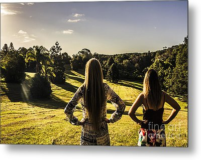 Friends Enjoying A Sunshine Coast Sunset Metal Print by Jorgo Photography - Wall Art Gallery