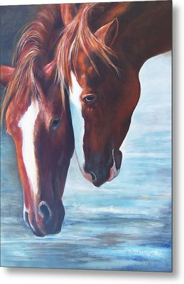 Metal Print featuring the painting Friends For Life by Karen Kennedy Chatham