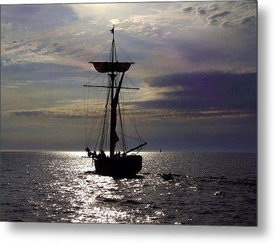 Friends Good Will Tall Ship Silhouette Metal Print by Richard Gregurich