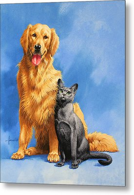 Friends On Blue Metal Print by John Francis