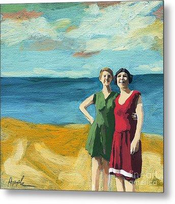 Friends On The Beach Metal Print by Linda Apple