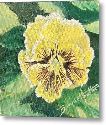 Metal Print featuring the painting Frilly Yellow Pansy by Bonnie Heather