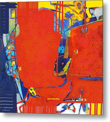 Fringe And Red Tape Metal Print by Dale  Witherow