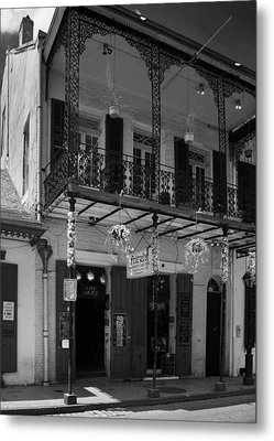 Fritzel's European Jazz Pub In Black And White Metal Print by Chrystal Mimbs