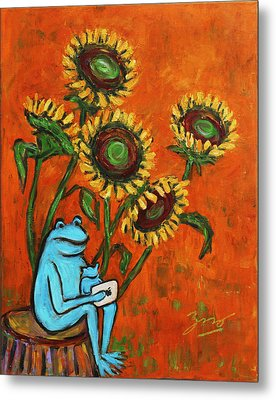 Frog I Padding Amongst Sunflowers Metal Print by Xueling Zou