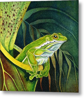 Frog In Pitcher Plant Metal Print by Lyse Anthony
