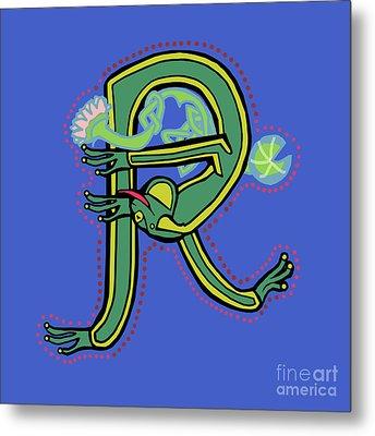 Frog Letter R Blue Metal Print