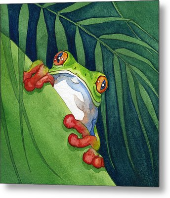 Frog On The Look Out Metal Print by Lyse Anthony