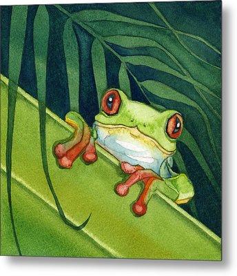 Frog Peek Metal Print by Lyse Anthony
