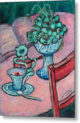 Metal Print featuring the painting Frog Singing At Teatime by Xueling Zou