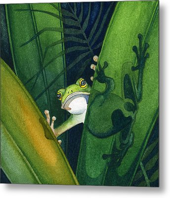 Frog Small Peek Metal Print by Lyse Anthony