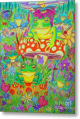 Frogs And Mushrooms Metal Print by Nick Gustafson