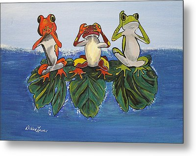 Frogs Without Sense Metal Print by Debbie Levene