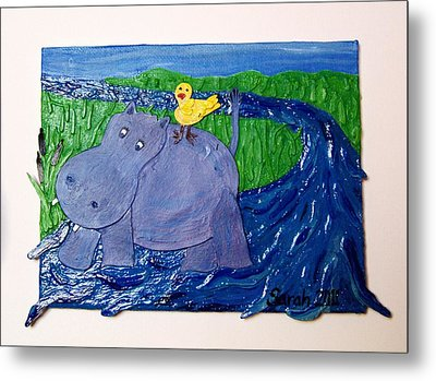 Frolic With Hippo And Bird Metal Print by Sarah Swift