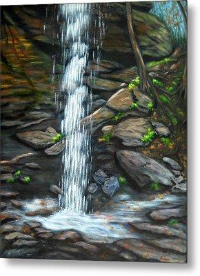 From Behind Moore Cove Falls Metal Print by Sandy Hemmer