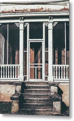 Metal Print featuring the photograph Front Door Of Abandoned Building by Kim Hojnacki