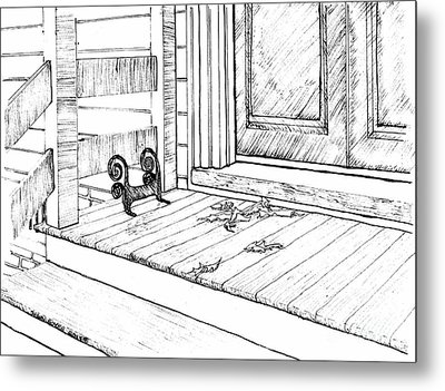 Front Porch With Boot-scraper Metal Print by Dawn Boyer