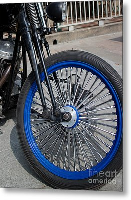 Front Wheel With Blue Rims And Fat Chrome Spokes Of Vintage Styl Metal Print by Jason Rosette