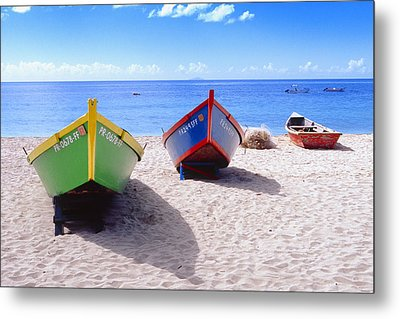 Frontal View Of Fishing Boats On Crash Boat Beach Puerto Rico Metal Print by George Oze