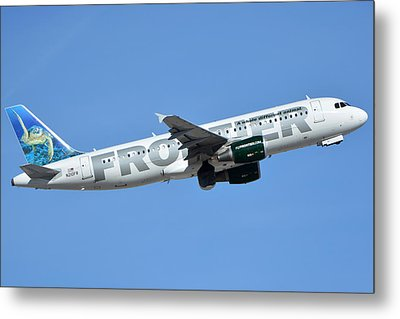 Frontier Airbus A319-214 N210fr Sheldon The Sea Turtle Phoenix Sky Harbor January 21 2016 Metal Print by Brian Lockett