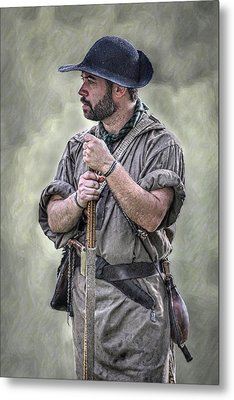 Frontiersman Ranger Scout Portrait Metal Print by Randy Steele