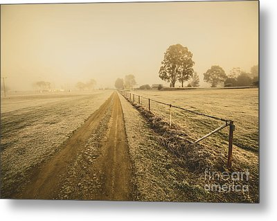 Frosted Road In Outback Australia Metal Print