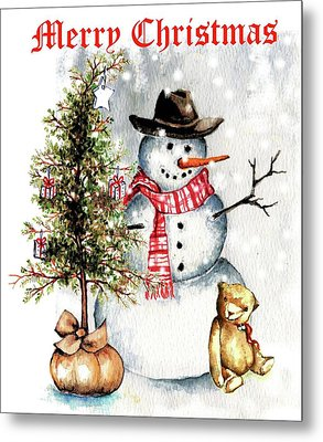 Frosty The Snowman Greeting Card Metal Print