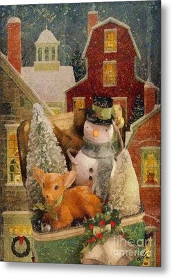 Metal Print featuring the painting Frosty The Snowman by Mo T