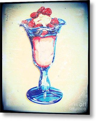 Frosty Vintage Strawberry Parfait Metal Print
