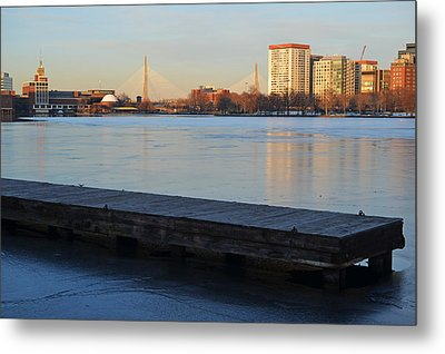Frozen Dock On The Charles River Metal Print by Toby McGuire