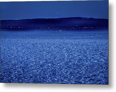 Metal Print featuring the photograph Frozen Bay At Night by Onyonet  Photo Studios