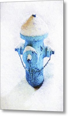 Metal Print featuring the photograph Frozen Blue Fire Hydrant by Andee Design