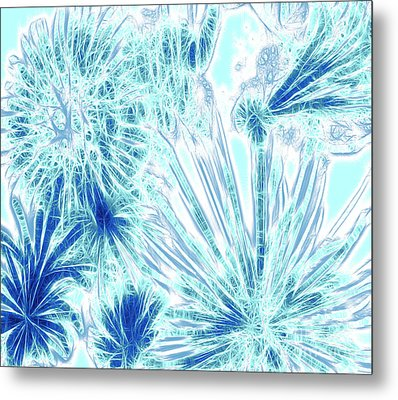 Metal Print featuring the digital art Frozen Blue Ice by Methune Hively