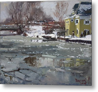 Frozen Cayuga Creek Metal Print by Ylli Haruni