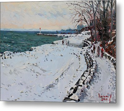 Frozen Shore In Oakville On Metal Print by Ylli Haruni