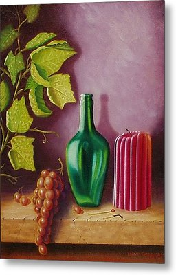 Metal Print featuring the painting Fruit And Candle by Gene Gregory
