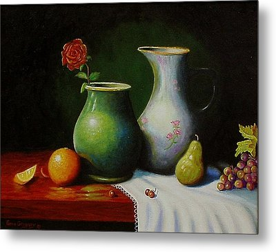 Metal Print featuring the painting Fruit And Pots. by Gene Gregory