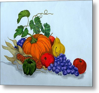 Metal Print featuring the drawing Fruit And Veggies by Terri Mills