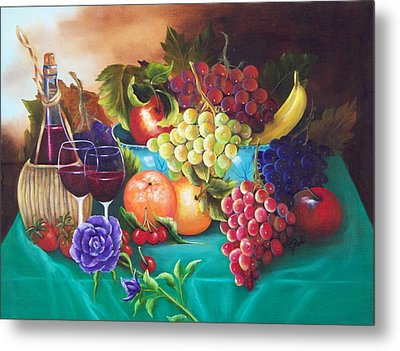 Fruit And Wine On Green Cloth Metal Print by Joni McPherson
